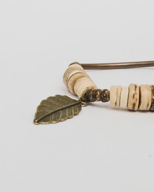 Kupferarmband mit Kokos und Feder